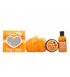 I Love Mango & Papaya : Body Puff Body Butter 50 ml - Bubble Bath 100 ml Gift set